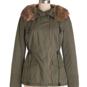 ModCloth Green army coat wit faux fut hood